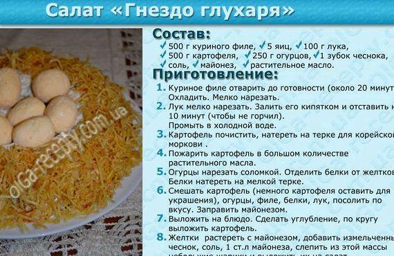 Салат глухарь рецепт пошагово в