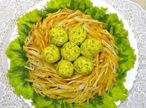 Салат гнездо глухаря пошаговый рецепт с сыром