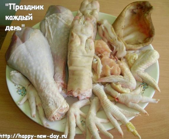 Заливное из куриных лапок пошаговый рецепт