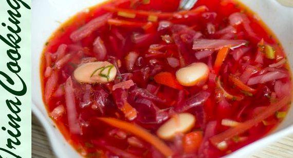 Борщ рецепт с фасолью пошаговый рецепт с фото
