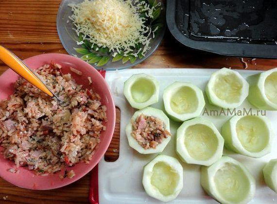 Кабачок фаршированный фаршем в духовке рецепт с фото