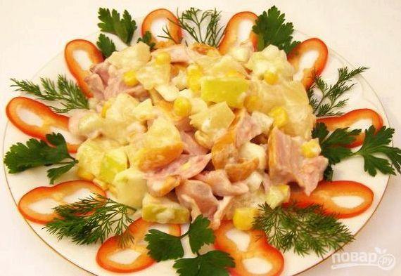 Курица с ананасами салат классический рецепт