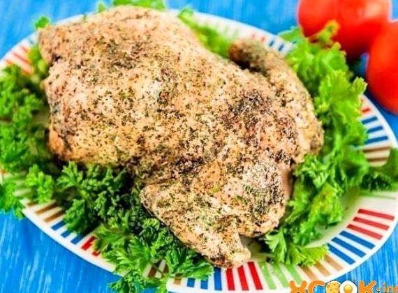 Курица в духовке в соли целиком рецепт с фото