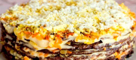 Печеночный торт рецепт с фото пошагово с куриной печени
