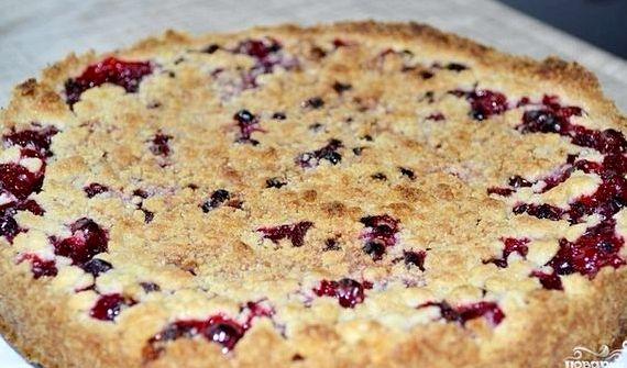Пирог с брусникой из песочного теста рецепт