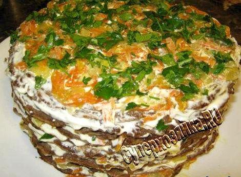Рецепт печёночного торта из куриной печени