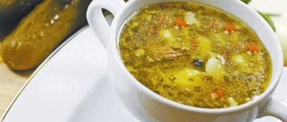 Рецепт рассольника с рисом и огурцами с фото
