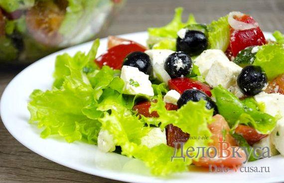 Салат греческий рецепт классический с фетаксой с фото