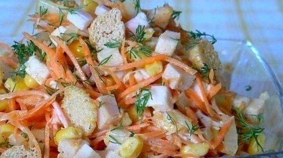 Салат с копченой куриной грудкой простой рецепт с фото