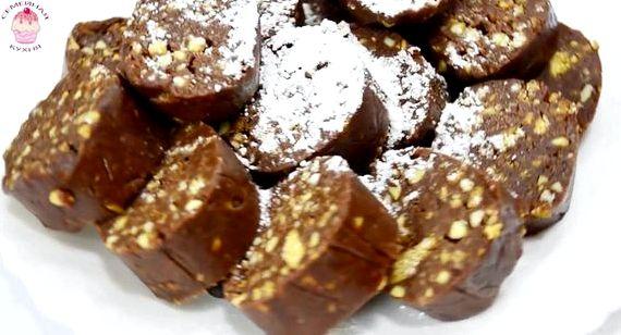 Шоколадные колбаски из печенья рецепт с фото как в детстве