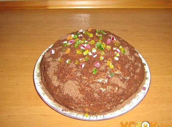 Торт из печенья рыбки без выпечки со сметаной и бананом рецепт с фото