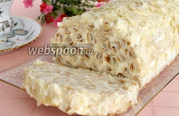 Торт наполеон из готового слоёного теста со сгущёнкой рецепт с фото
