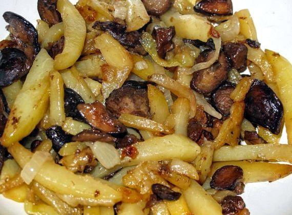рецепт жареной картошки с грибами на сковороде фото рецепт