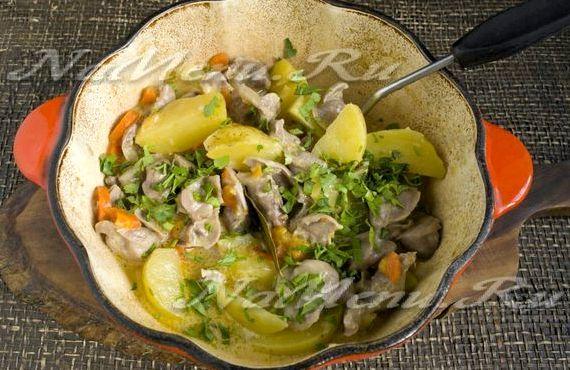 Желудки куриные рецепт тушеные с картошкой